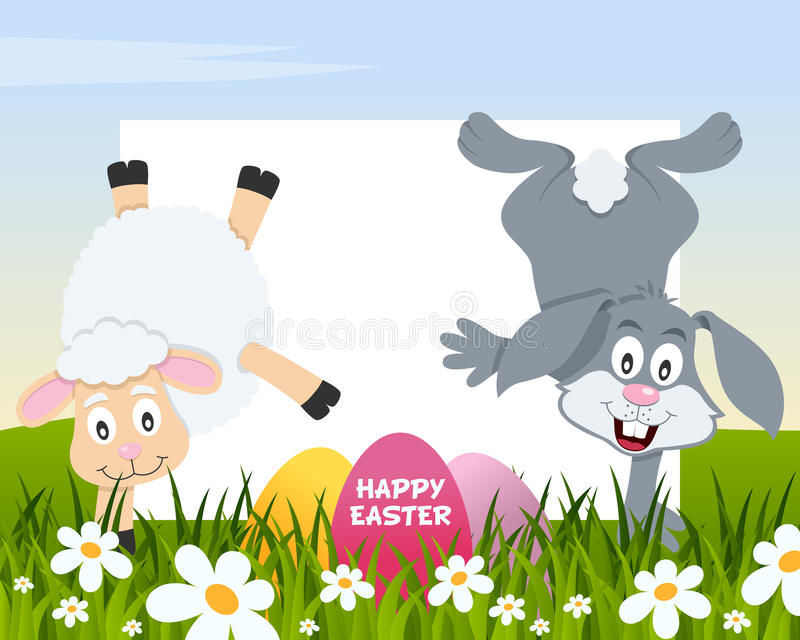 Easter Horizontal Eggs - Lamb and Rabbit royalty free stock image