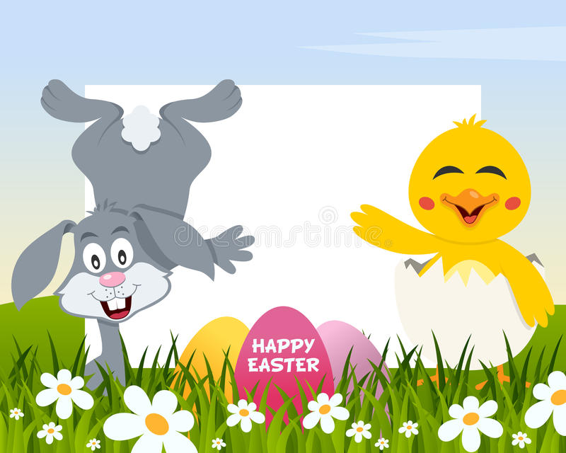 Easter Horizontal Eggs - Rabbit and Chick stock image
