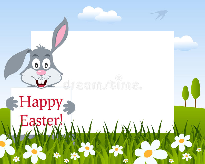 Easter Horizontal Frame with Bunny Rabbit royalty free stock photos