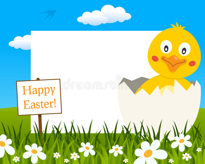 Easter Horizontal Frame - Chick in Eggshell stock photography