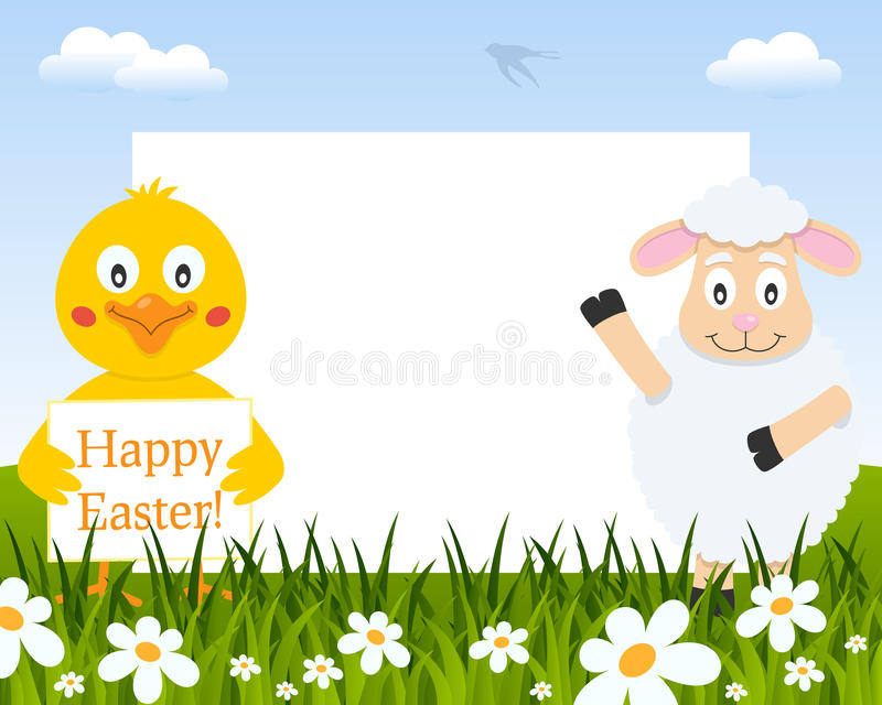 Easter Horizontal Frame - Chick and Lamb stock photos