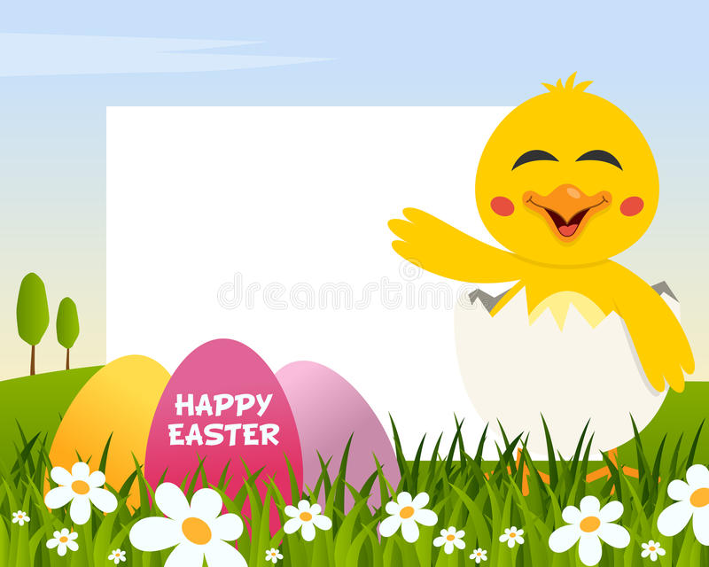 Easter Horizontal Frame with Eggs & Chick royalty free stock images