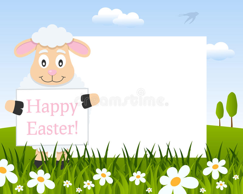 Easter Horizontal Frame with Funny Lamb stock photography