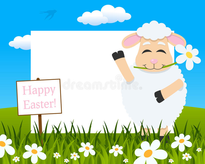 Easter Horizontal Frame - Lamb with Flower royalty free stock photography