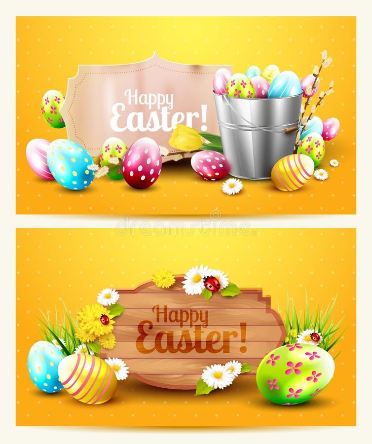 Easter horizontal headers stock illustration