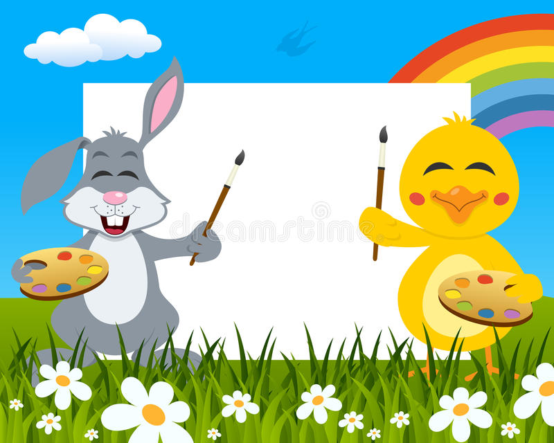 Easter Horizontal Painters - Rabbit & Chick stock image