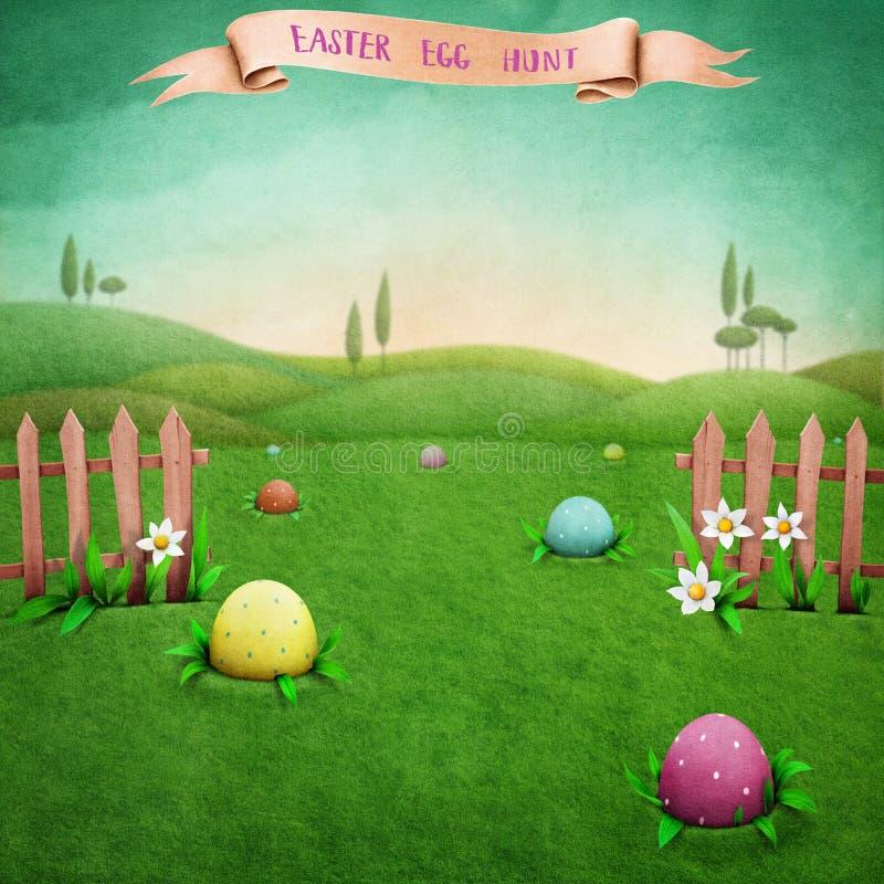Easter hunt eggs vector illustration