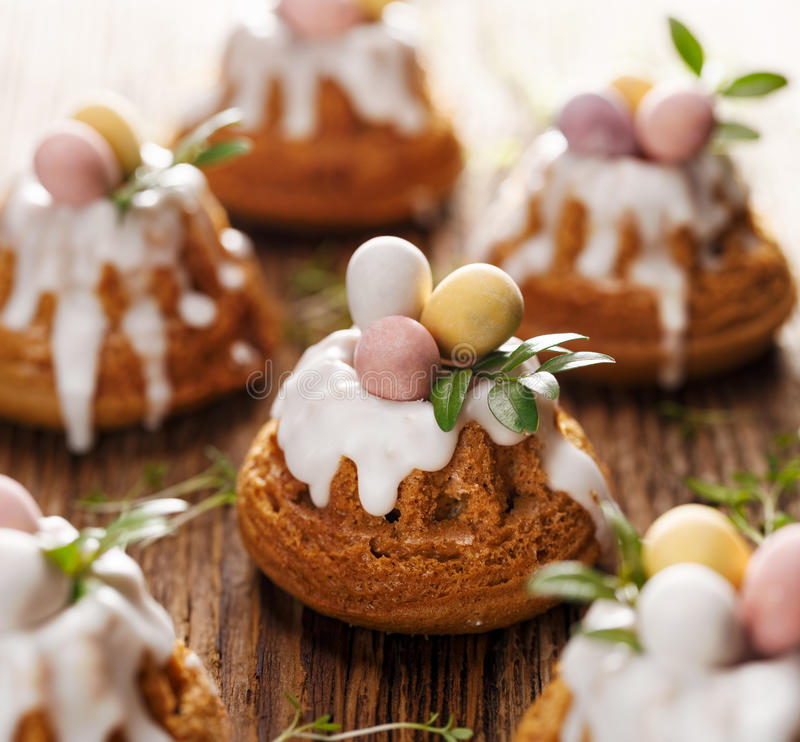 Easter iced bundt cakes stock photography