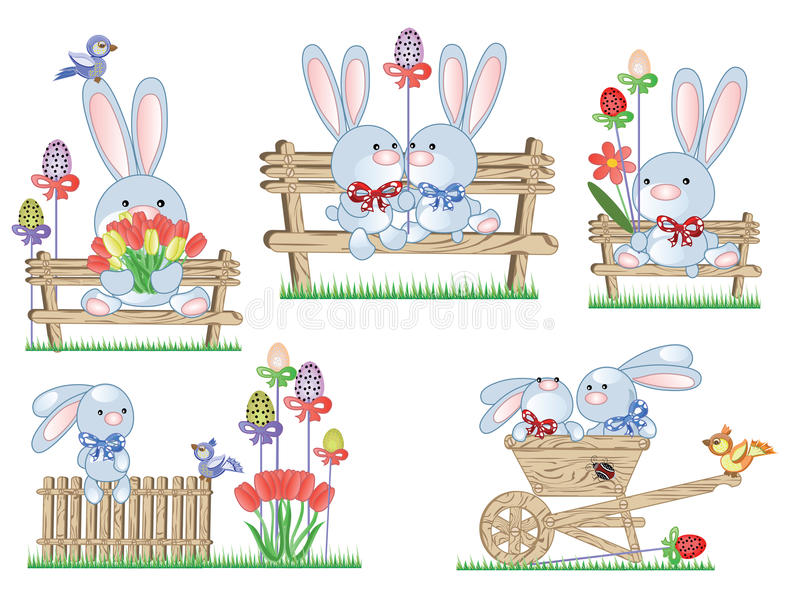 Download Easter icons with bunnies stock vector. Illustration of tulip - 18669399