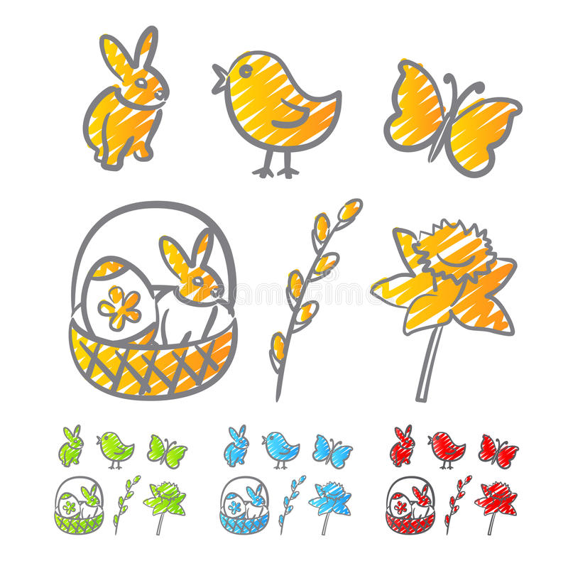 Download Easter icons scribble stock vector. Image of clip, flowers - 23787305