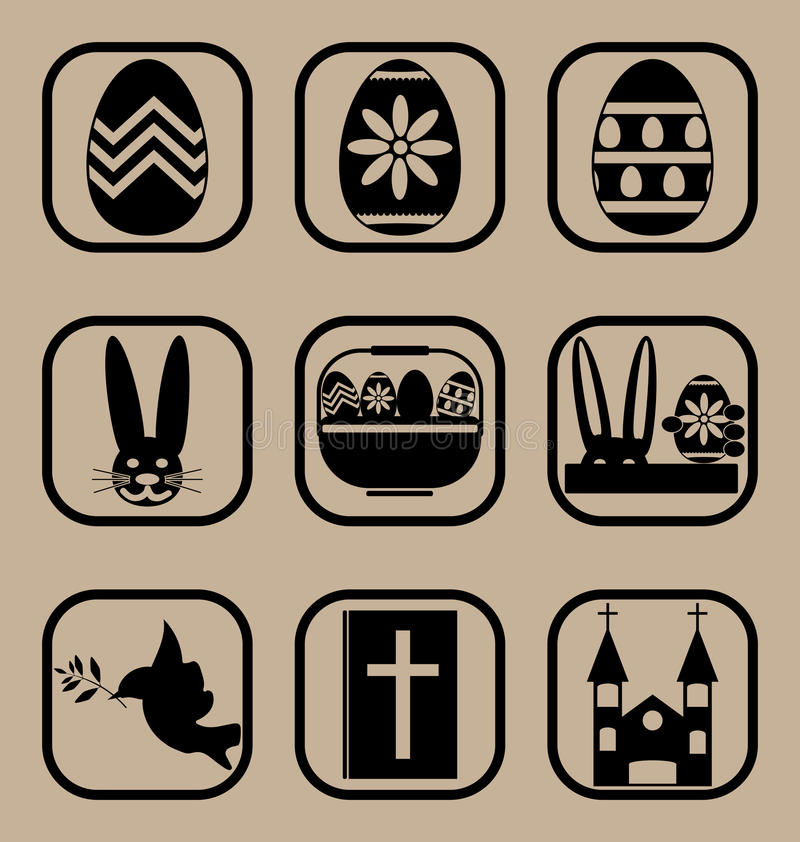 Easter icons set stock photography