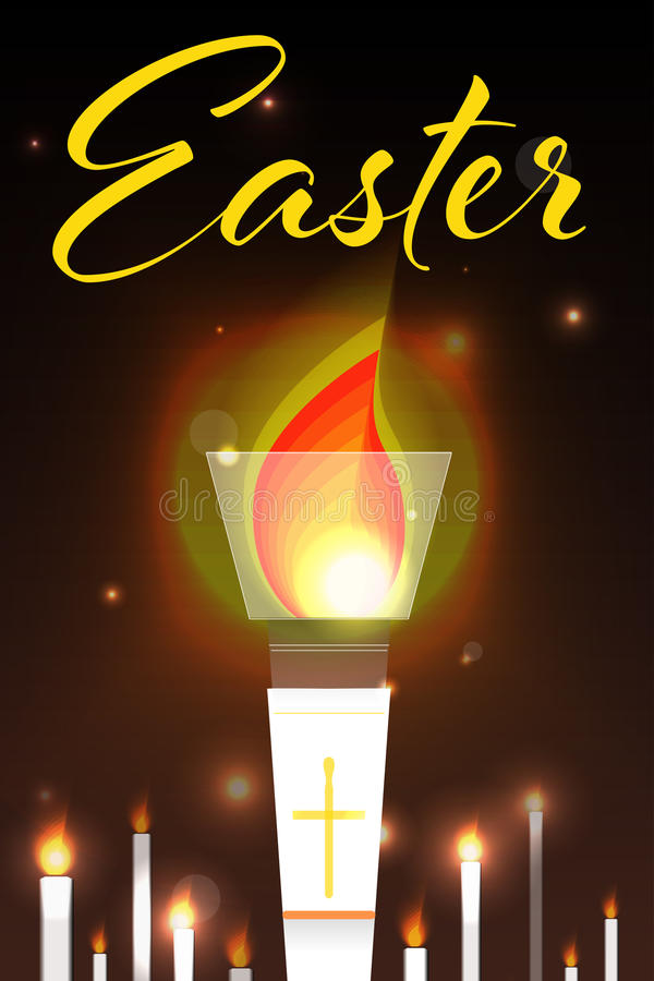 Easter illustration with burning candles. vector illustration