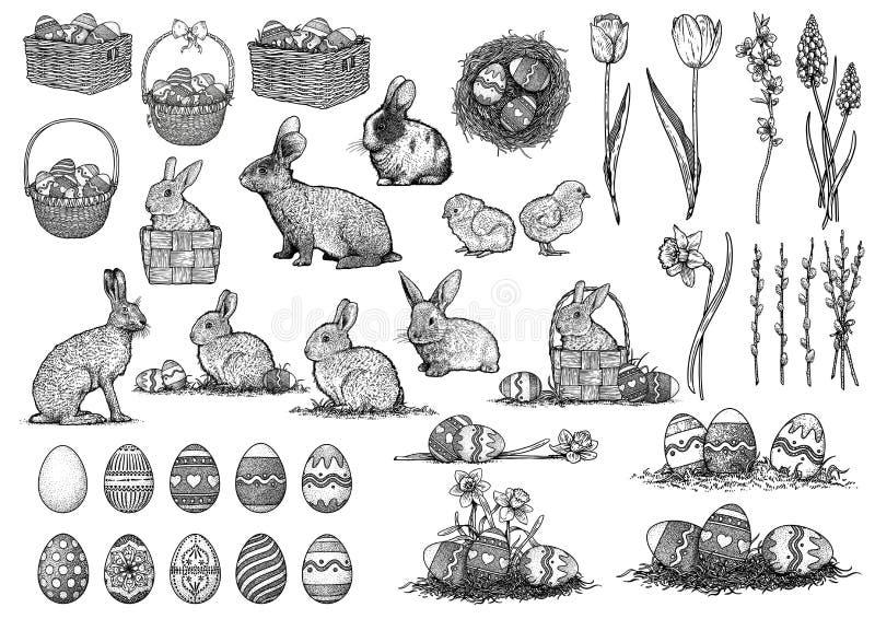 Easter illustration, drawing, engraving, set collection vector illustration