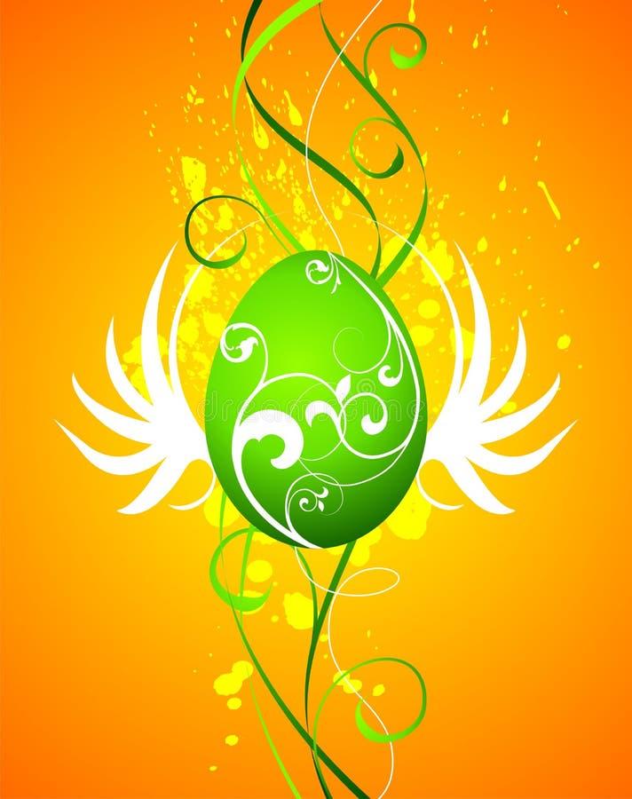 Easter illustration with green painted egg. On orange background royalty free illustration
