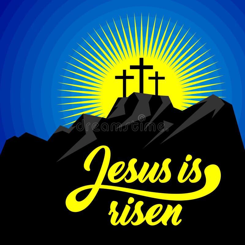 Easter illustration. Jesus Christ is risen stock illustration