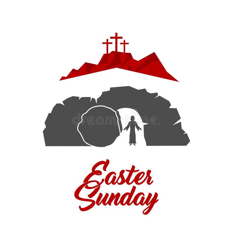 Easter illustration. Jesus Christ is risen royalty free illustration