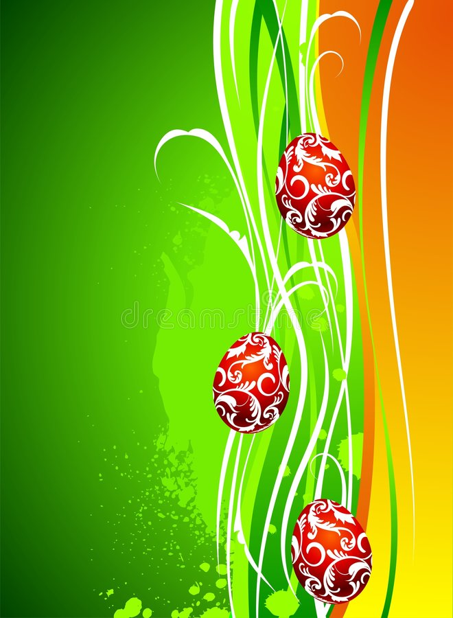 Easter illustration with painted eggs. On green background royalty free illustration