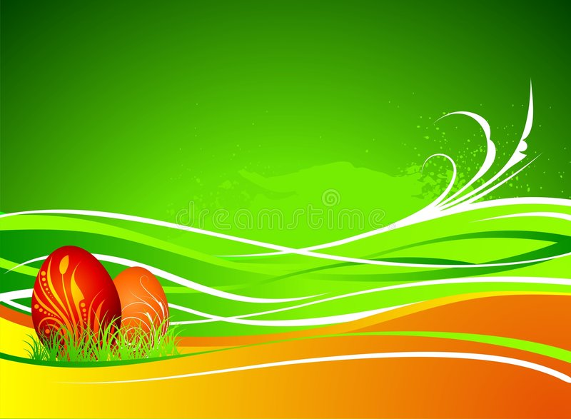 Easter illustration with painted eggs. On green and orange background royalty free illustration