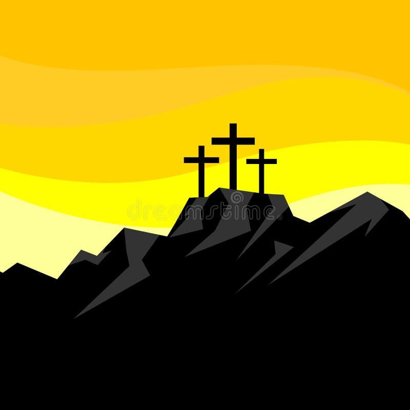 Easter illustration. Three crosses on Calvary.  stock illustration