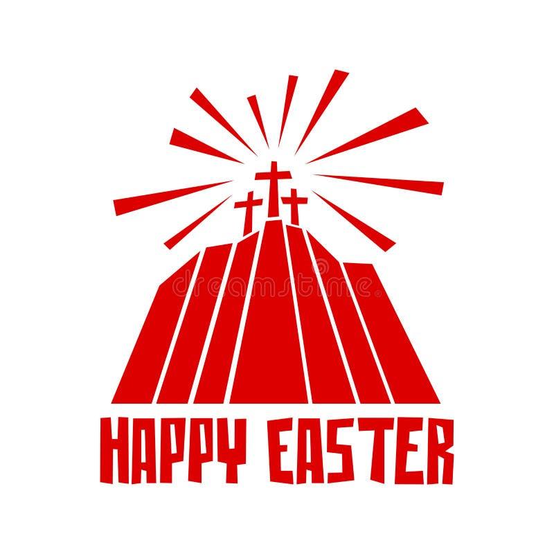 Easter illustration. Three crosses on Calvary.  vector illustration