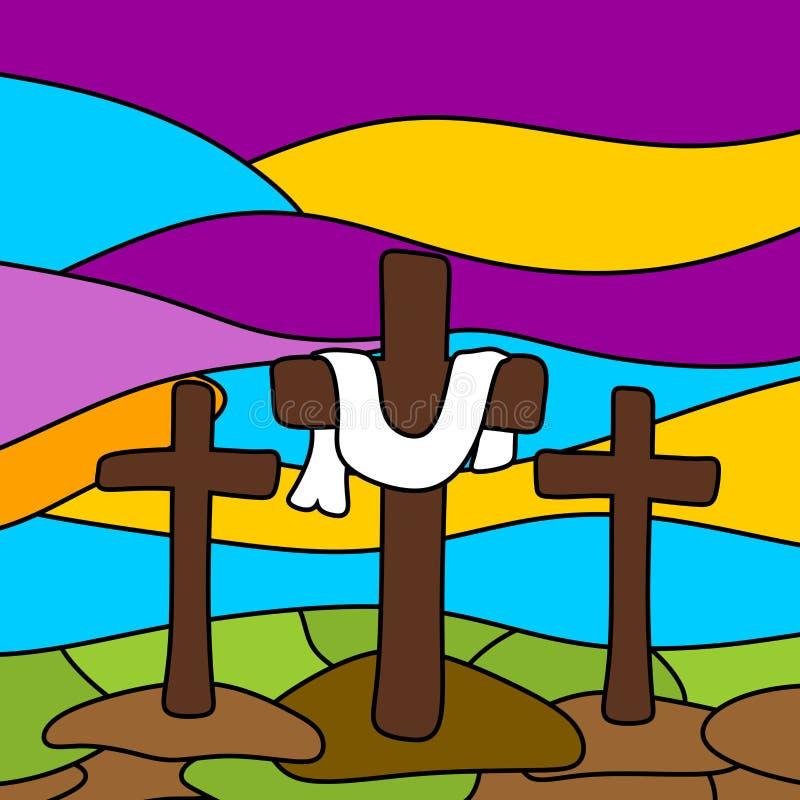 Easter illustration. Three crosses on Calvary.  royalty free illustration