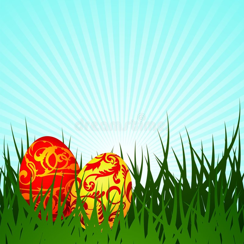 Easter illustration with two painted egg. On spring background stock illustration