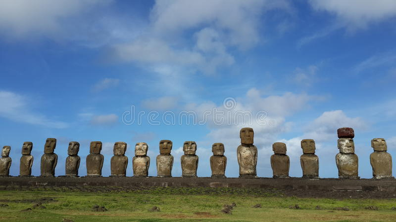 Easter Ilsand Moai statues royalty free stock photography