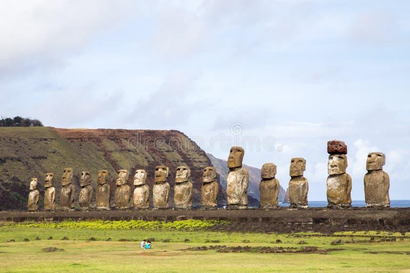 Ahu Tongariki on Easter Island royalty free stock images