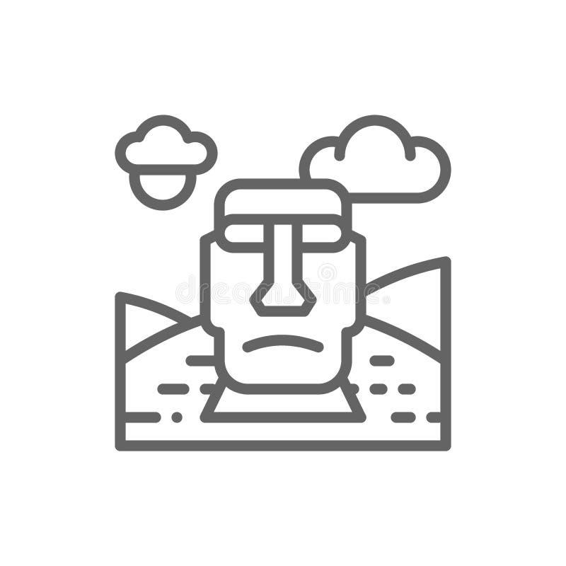 Easter Island, Chile, landmark line icon. royalty free illustration