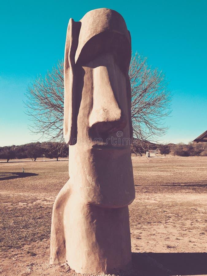 Easter island head statue. Replica statue of Moai in Texas royalty free stock photo