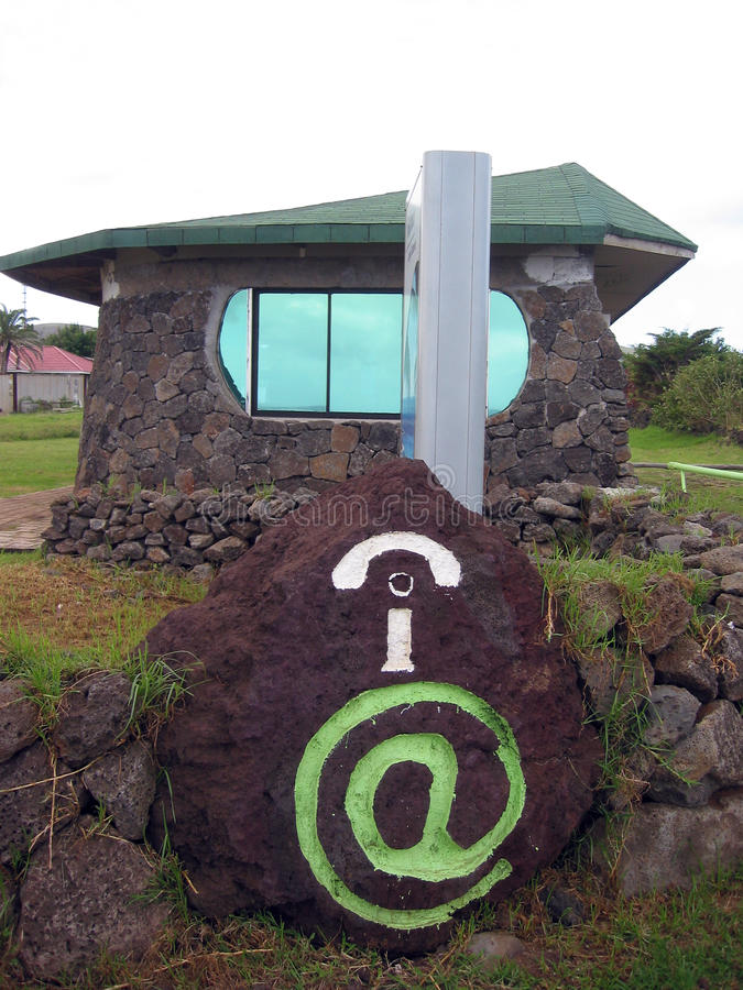 Easter Island. Internet cafe. Internet cafe on Easter Island royalty free stock photos