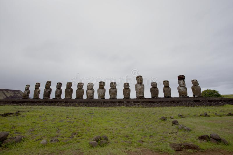 Carved stone statues - Moais - Ahu Tongariki, Easter Island Rapa Nui/ Easter Island - Chile. South America - Pacific royalty free stock photo
