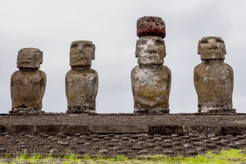Carved stone statues - Moais - Ahu Tongariki, Easter Island Rapa Nui/ Easter Island - Chile. South America - Pacific stock images