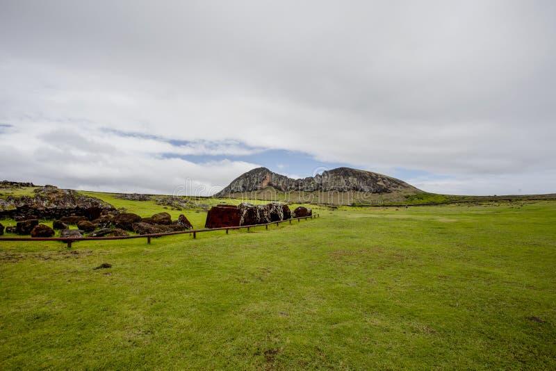 Carved stone statues - Moais - Ahu Tongariki, Easter Island Rapa Nui - Chile. Carved stone statues - Moais - Ahu Tongariki, Easter Island Rapa Nui/ Isla de stock photos
