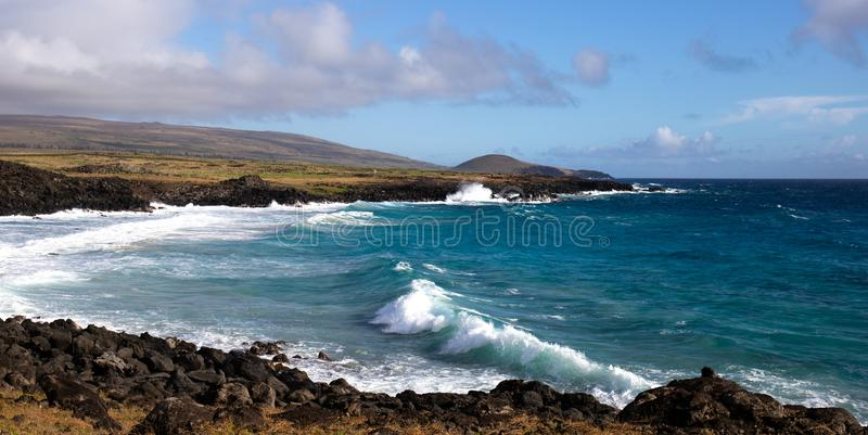 Easter Island landscape. Pacific ocean coast Rapa Nui. Road to Awaken beach stock photography