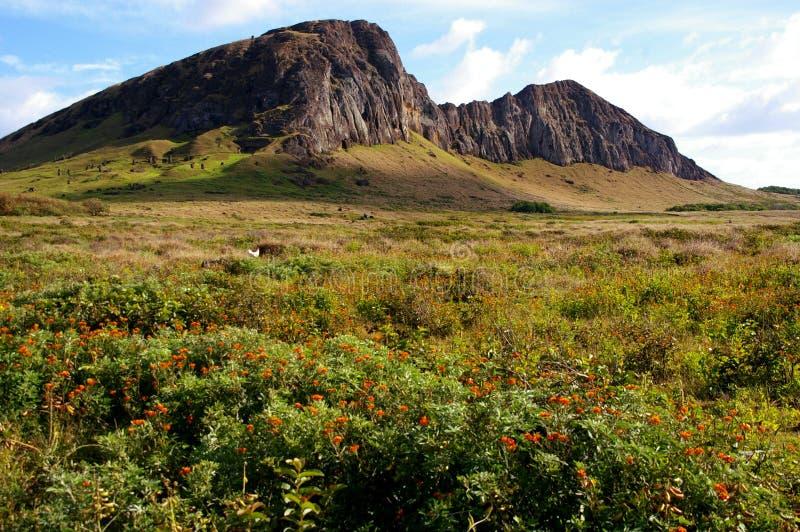 Easter Island landscape - Rano Raraku. Rano Raraku on Easter Island, the extinct volcano where the giant stone stautes were made. The statues can be seen on the royalty free stock photo