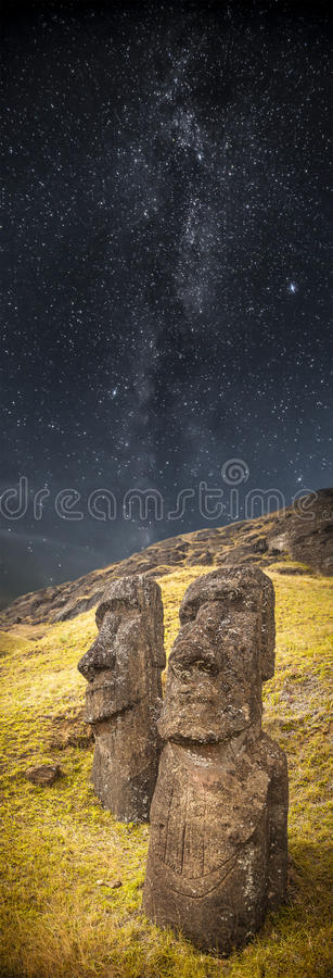 Easter island. Milky Way. Moais at Ahu Tongariki (Easter island, Chile stock images