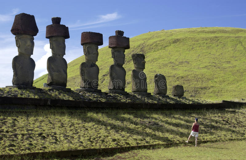 Easter Island Moai. Ancient Moai on remote Easter Island in the South Pacific. Easter Island is now a part of Chile stock images