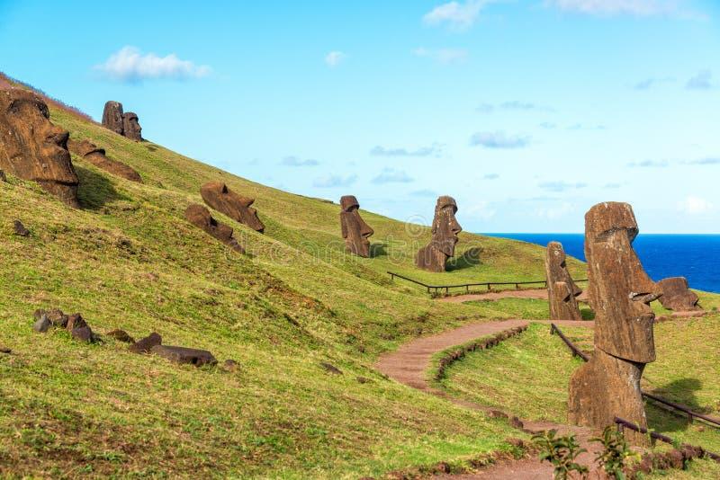 Easter Island Moai at Rano Raraku. Various Moai visible on Easter Island at the historic site of Rano Raraku stock image