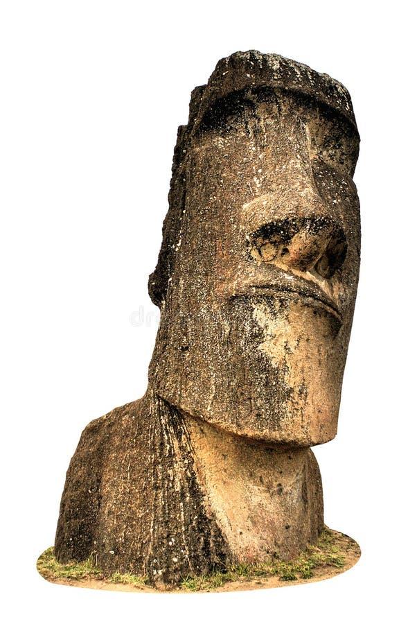 Easter Island Moai statue. A closeup, isolated view of a Moai statue from Easter Island