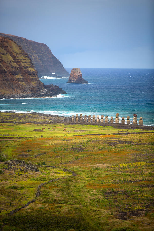 Easter island. Moais at Ahu Tongariki (Easter island, Chile royalty free stock photo