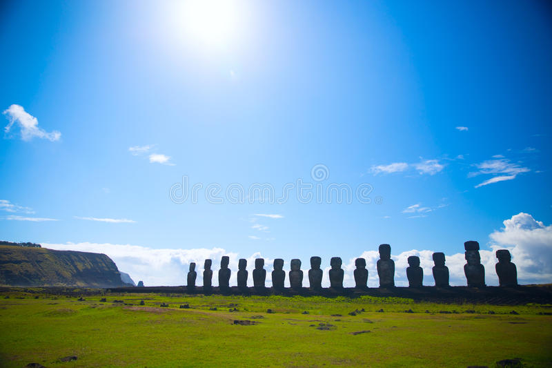 Easter island. Moais at Ahu Tongariki (Easter island, Chile royalty free stock photography