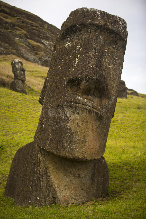 Easter island. Moais at Ahu Tongariki (Easter island, Chile royalty free stock image