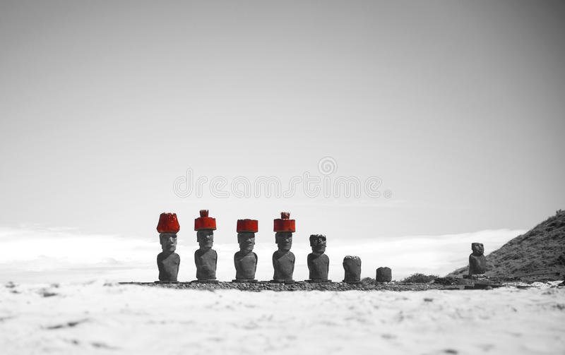 Easter island. Moais at Ahu Tongariki (Easter island, Chile stock photography