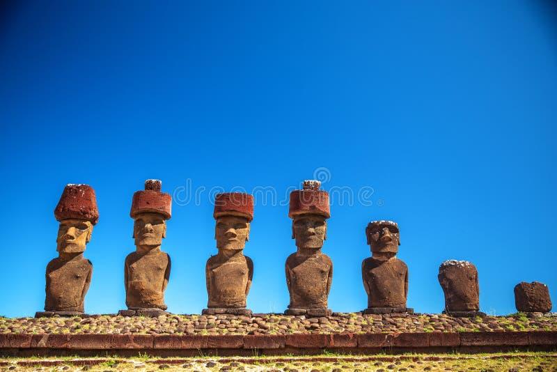 Easter island. Moais at Ahu Tongariki (Easter island, Chile stock photo