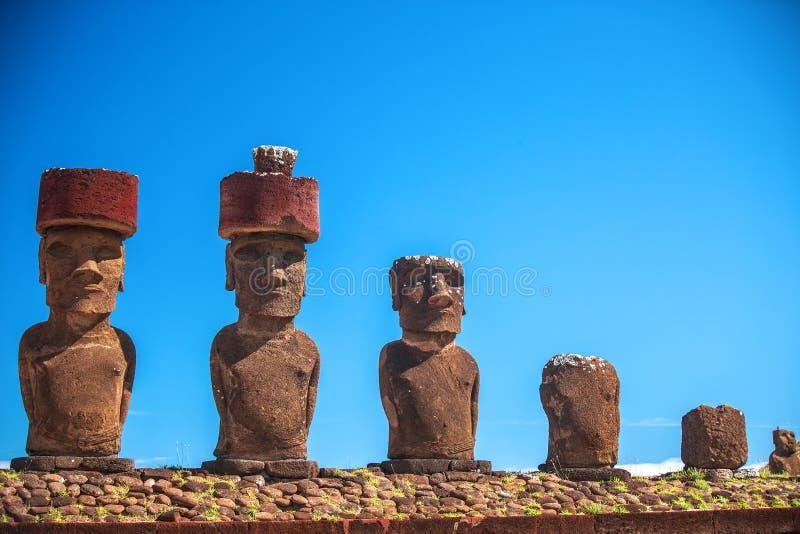 Easter island. Moais at Ahu Tongariki (Easter island, Chile stock photos
