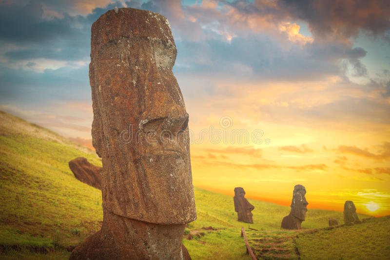 Easter island. Moais at Ahu Tongariki (Easter island, Chile royalty free stock images