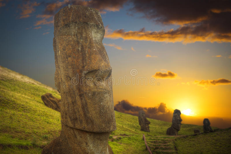 Easter island. Moais at Ahu Tongariki Easter island, Chile stock photography