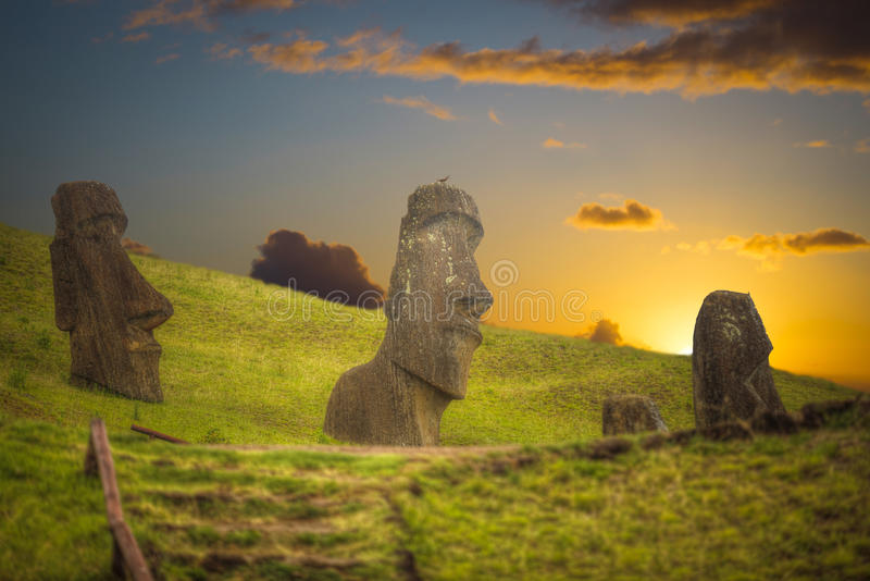 Easter island. Moais at Ahu Tongariki Easter island, Chile royalty free stock image