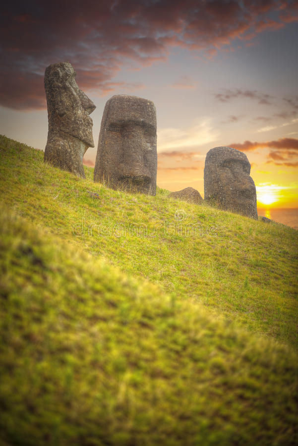 Easter island. Moais at Ahu Tongariki Easter island, Chile royalty free stock photos